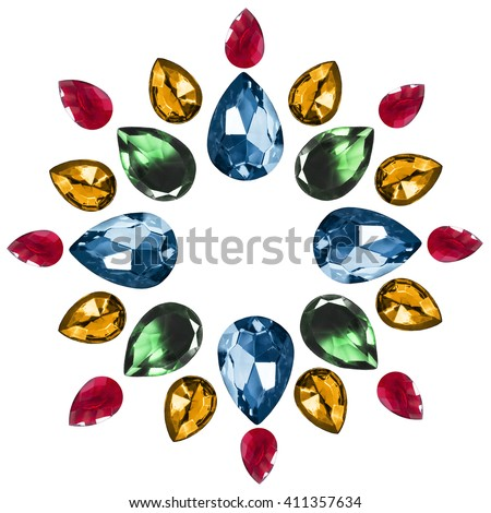 Group of faceted gem stones isolated over white - stock photo
