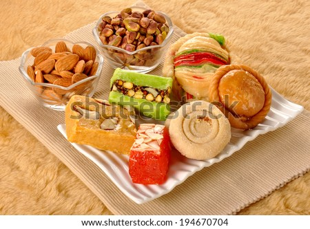 Group of famous asian sweets - stock photo