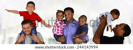 Group of fathers and their Children playing together - stock photo