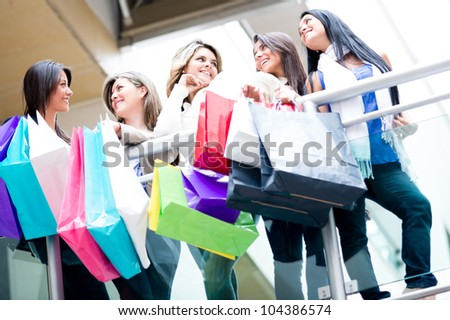 Group of female shoppers at the shopping center