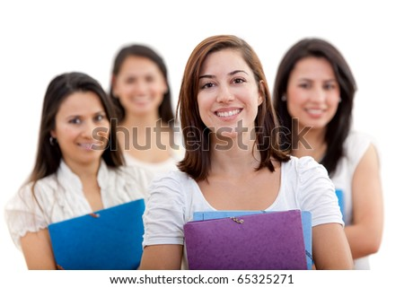 Group of female students holding notebooks - isolated