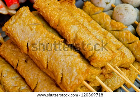 Group of fish sausages on the tray, Thailand. - stock photo