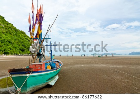group of fishing boats on the beach, Thailand