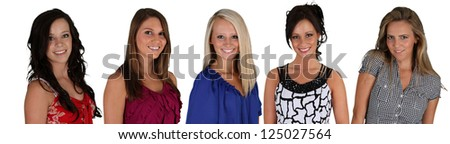 Group of five woman on a white background - stock photo