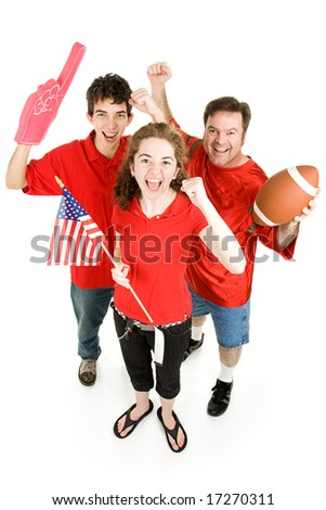 Group of football fans going wild.  Full body isolated on white. - stock photo