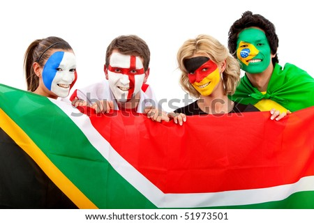 Group of football fans holding a southafrican flag with their faces painted isolated over white - stock photo
