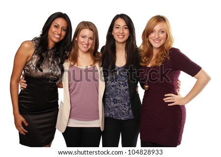 Group of Four Beautiful Diverse Young Women