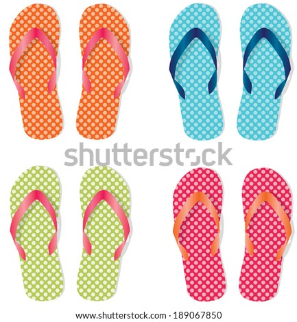 Group of four flip flops or sandals with different colors of polka dots
