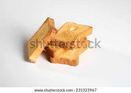 group of four slices toast viewed from above on a white background