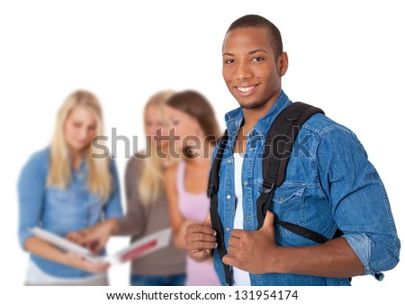Group of four students. All on white background. - stock photo