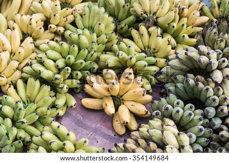group of fresh banana in the local market