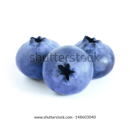 Group of Fresh Blueberries Isolated on the White Background - stock photo