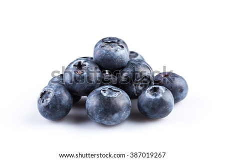Group of fresh blueberries isolated on white background