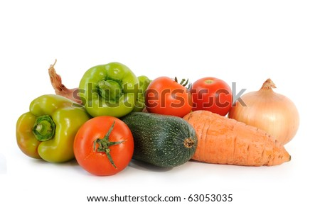 Group of fresh colorful vegetables on white background - stock photo