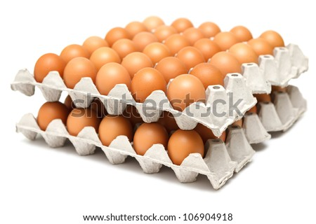 Group of fresh eggs in pater tray - stock photo