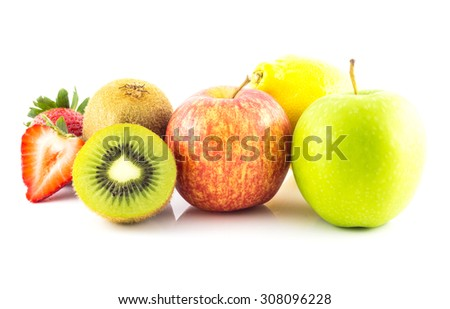 Group of fresh fruit on white background, healthy concept