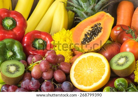 Group of fresh fruits and vegetables organics for healthy - stock photo