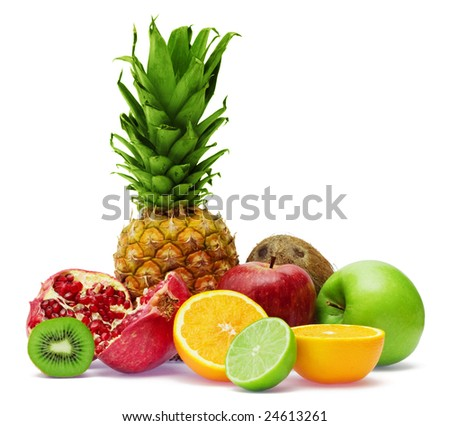 Group of fresh fruits isolated on white background - stock photo