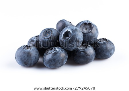 Group of fresh juicy blueberries isolated on white background - stock photo
