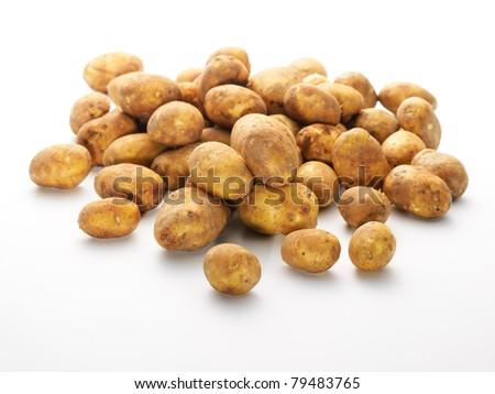 Group of fresh new potatoes - stock photo