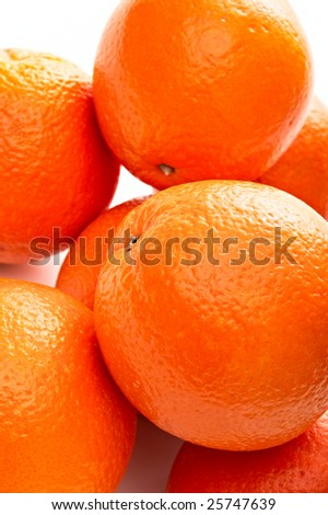 group of fresh oranges on white background