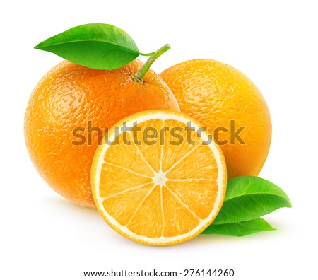 Group of fresh oranges with leaves on white background, with clipping path - stock photo