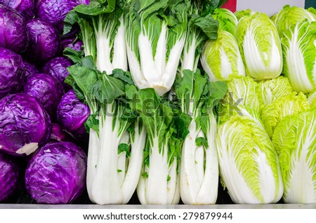 Group of fresh organically grown red cabbage, baby bok choy and napa cabbage in the farmer market at Puyallup, Washington, USA.  - stock photo
