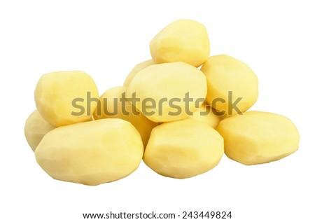 Group of fresh peeled potatoes. Isolated on white background. - stock photo
