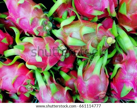Group of fresh pitaya pattern texture background, close-up fresh pitaya in fresh market