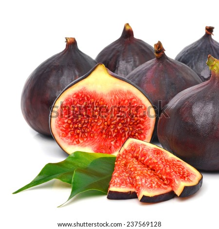 Group of fresh ripe figs isolated on the white background - stock photo
