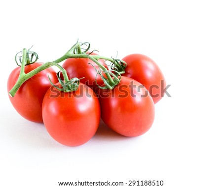 Group of fresh ripe Roma Tomatoes isolated on white background. Close-up view of Roma tomatoes, also known as Italian tomatoes or Italian plum tomatoes. Copy space. - stock photo