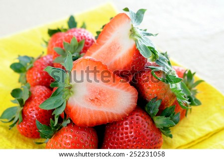 group of fresh strawberry on the table  - stock photo