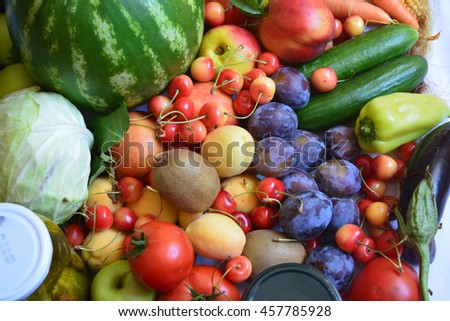 Group of fresh vegetables and fruits