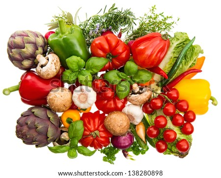 group of fresh vegetables and herbs isolated on white background. raw food ingredients. tomato, paprika, artichoke, mushrooms, cucumber, green salad, garlic, rosemary, thyme, basil - stock photo