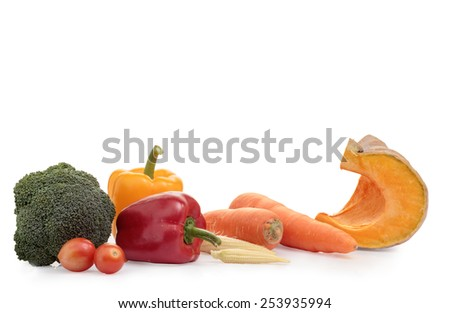 Group of fresh vegetables on white background.
