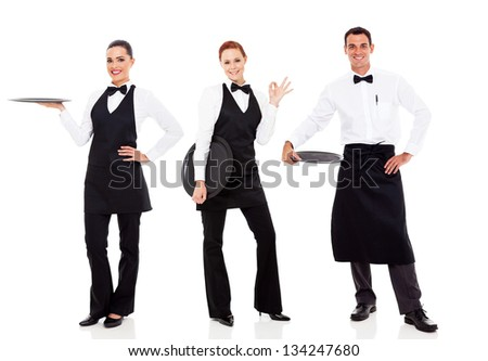 group of friendly restaurant staff isolated on white - stock photo