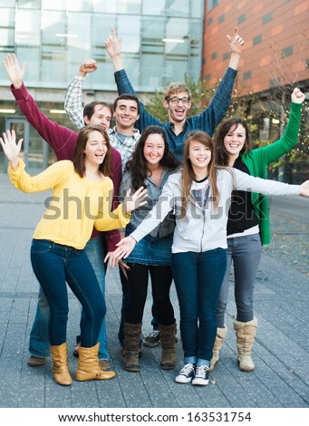 Group of friends acting excited - stock photo