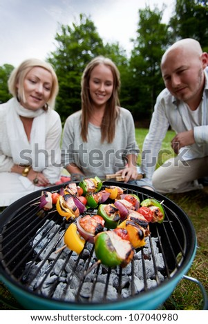 Group of friends barbecuing in the park - shallow depthof field, focus on kebabs - stock photo