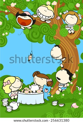 Group of friends drinking tea in a garden (raster version) - stock photo