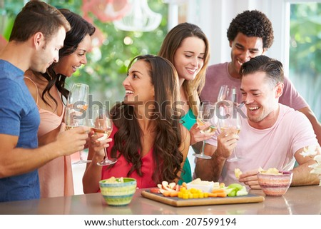 Group Of Friends Enjoying Drinks Party At Home - stock photo