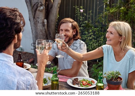 group of friends enjoying their outdoor dinner party - stock photo