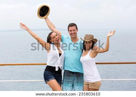 group of friends having fun cruise ship - stock photo