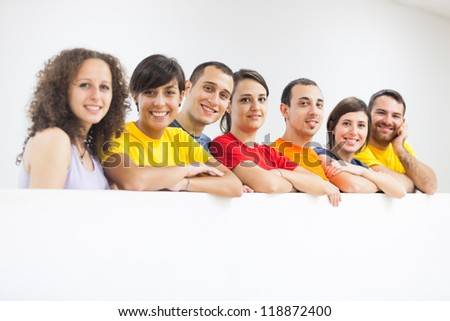 Group of Friends in a Row - stock photo