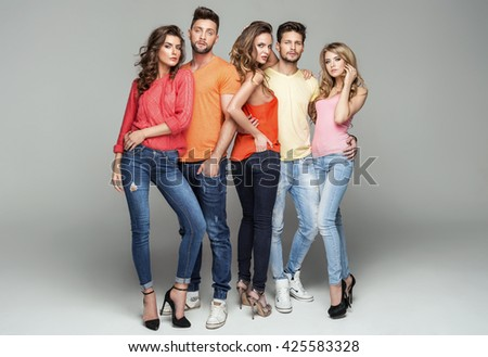 Group of friends in fashionable clothes