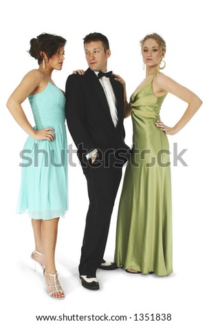 Group of friends in formal wear.  Clipping path. - stock photo