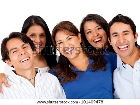 Group of friends laughing and having fun - isolated - stock photo
