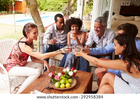 Group of friends making a celebratory toast in conservatory - stock photo
