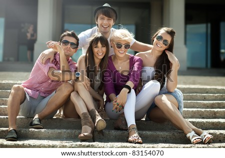 Group of friends on vacation - stock photo