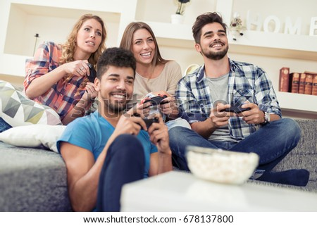 Young Friends Playing Video Games Home Stock Photo 71687101