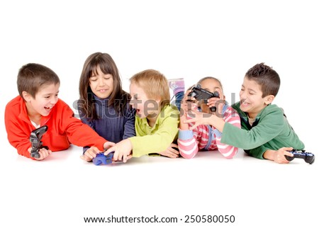 group of friends playing videogames isolated in white background - stock photo